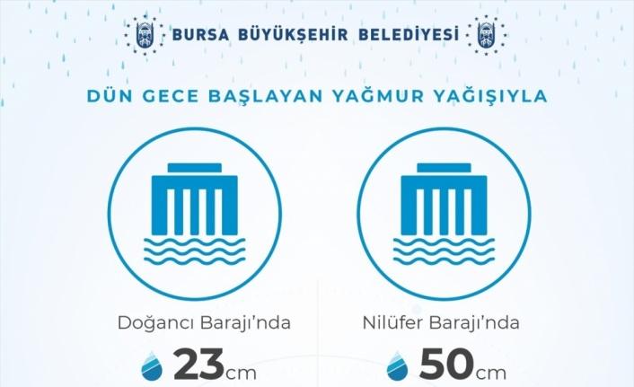 Bursa'da etkili olan yağışla barajlardaki su seviyesi yükseldi