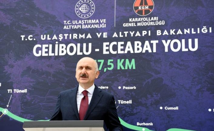 Gelibolu-Eceabat bölünmüş yol yapımında 26,5 kilometrelik kısım tamamlandı