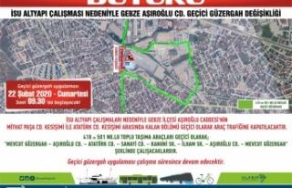 Gebze'de  geçici güzergah uygulaması