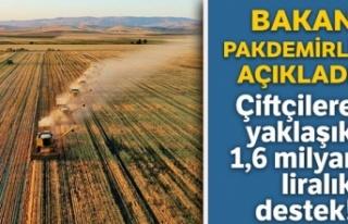 Çiftçilere 1,6 milyar liralık destek