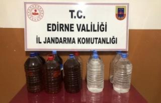 Edirne'de 110 litre kaçak içki ele geçirildi