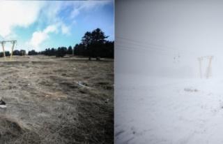 Uludağ'da hasretle beklenen kar yağışı başladı