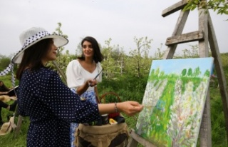 Kırklareli'nde çiçek açan armut bahçeleri ressamlara...