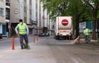 Kırklareli'nde cadde ve sokaklar dezenfekte edildi