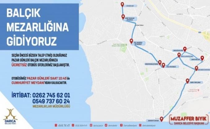 Darıca'dan Balçık Mezarlığı'na Pazar günü ücretsiz ulaşım başladı