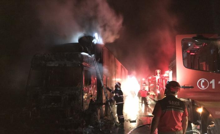 Anadolu Otoyolu'nda tır yangında kullanılamaz hale geldi