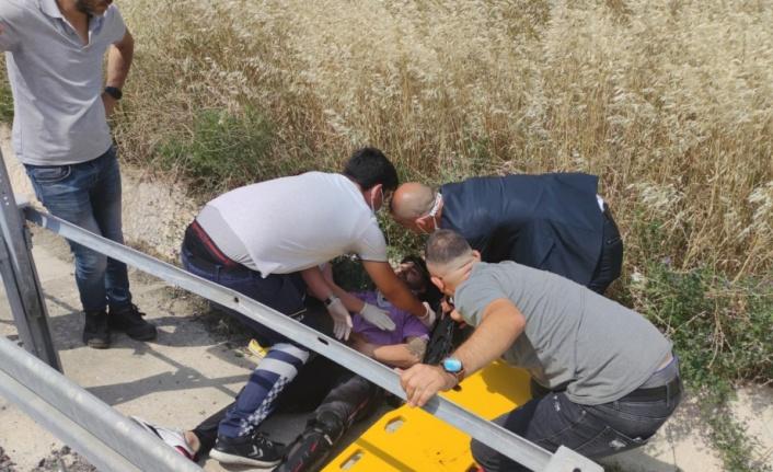 Orhangazi'de bariyere çarpan motosikletin sürücüsü yaralandı