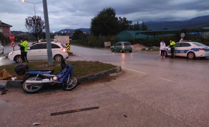 Trafik  kazasında motosiklet sürücüsü yaralandı