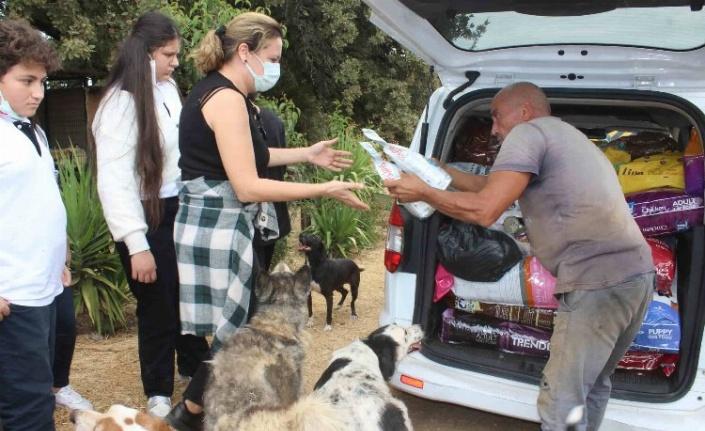 İzmir'de Bucalı öğrenciler hayvanlar için mama topladı