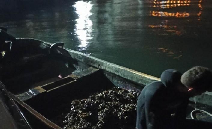 İzmit Körfezi'nde yasa dışı avlanan 150 kilogram midye denize bırakıldı