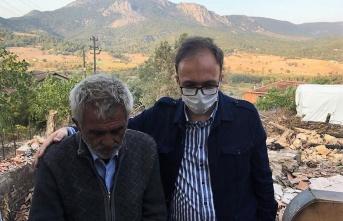 Vali Kızılkaya, Selbükü köyünde evi yanan aileyi ziyaret etti