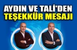 Şinasi Aydın ve Erdoğan Tali'den teşekkür mesajı
