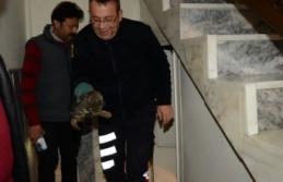 Apartmanın bodrum katında sıkışan kedi kurtarıldı