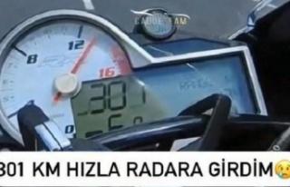 Kocaeli'de otoyolda yüksek hız yapan motosiklet...
