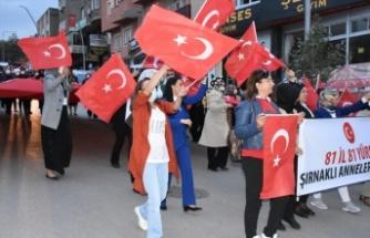 Şırnak'ta 81 ilden gelen kadınlardan terör mağduru ailelere destek yürüyüşü