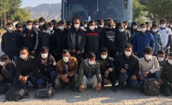 55 düzensiz göçmen yakalandı
